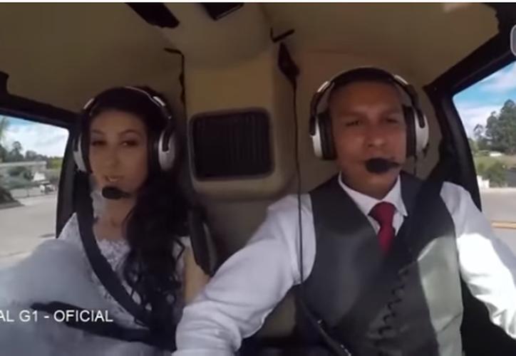 Rosemere do Nascimento Silva se dirigía a su boda en un helicóptero. (Captura Youtube).