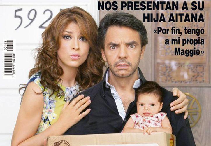 Alessandra Rosaldo y Eugenio Derbez posaron al estilo de la cinta  No se aceptan devoluciones acompañados de su hija Aitana. (Hola.com)