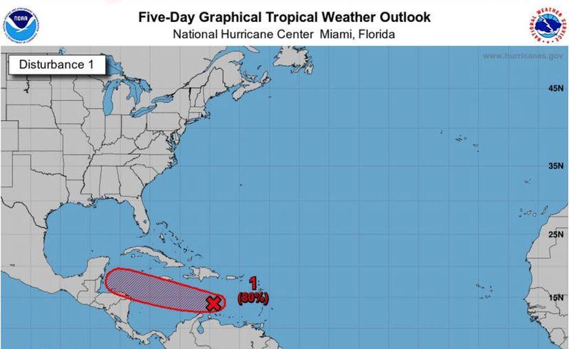 Hay un 80 por ciento de probabilidades de que se forme una depresión tropical en los dos próximos días. (NOAA)