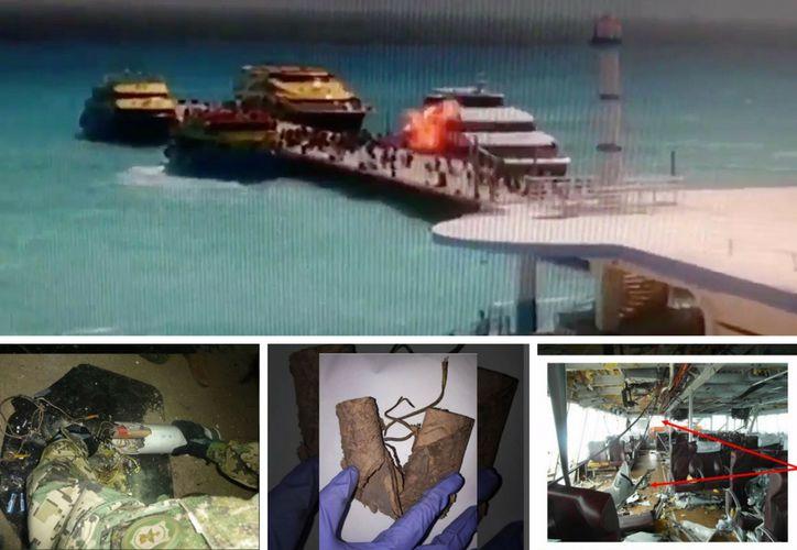 Agentes informaron que la explosión del ferry se debió a un artefacto explosivo improvisado. (Foto: Redacción/Televisa)