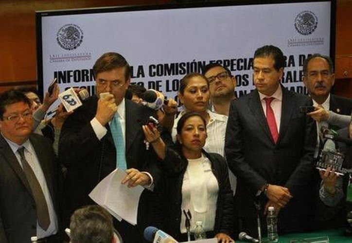 Marcelo Ebrard se presentó sin invitación a la sesión de la comisión especial en San Lázaro que da seguimiento a los recursos destinados a la Línea 12 del Metro. (Hértor Téllez/Milenio)