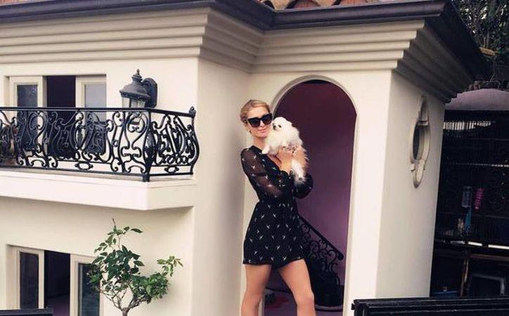 Paris Hilton posa junto a la mansión de dos de sus perros. (facebook.com/parishilton)
