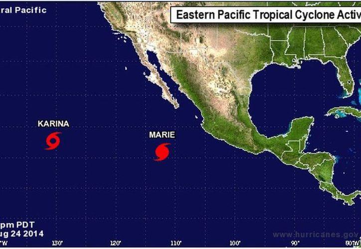 El huracán 'Marie' ocasionará intensas lluvias en estados como Baja California Sur y Sonora. (nhc.noaa.gov)