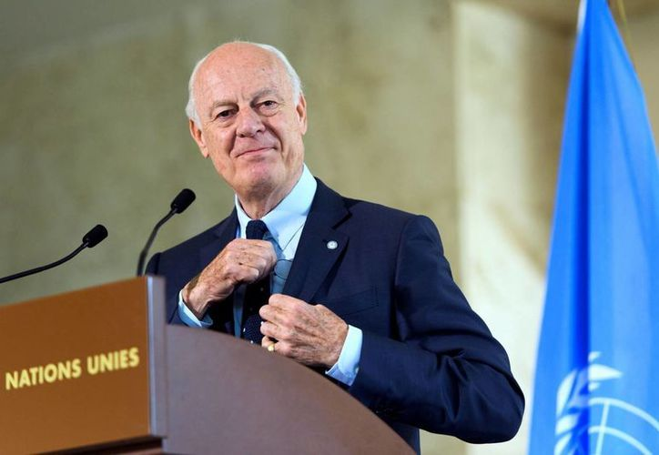 Staffan de Mistura, enviado especial de la ONU para Siria, en la sede europea de la ONU en Ginebra el 28 de julio del 2016. (Martial Trezzini/Keystone via AP)
