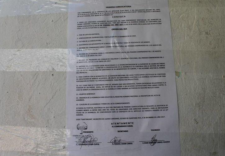 La convocatoria señala que la asamblea será el domingo 12 de este mes. (Raúl Balam/SIPSE)