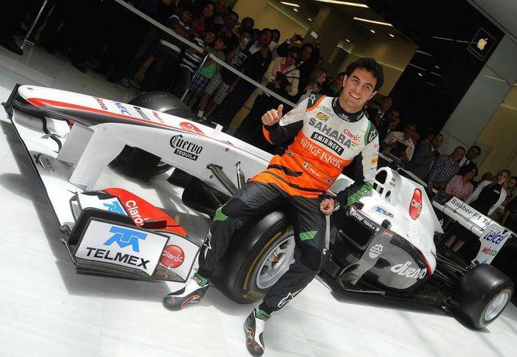 El piloto de la escudería Sahara Force India, Sergio 'Checo' Pérez, busca mejorar resultados y sumarle a los 15 puntos que lleva en la temporada. (Archivo Notimex)