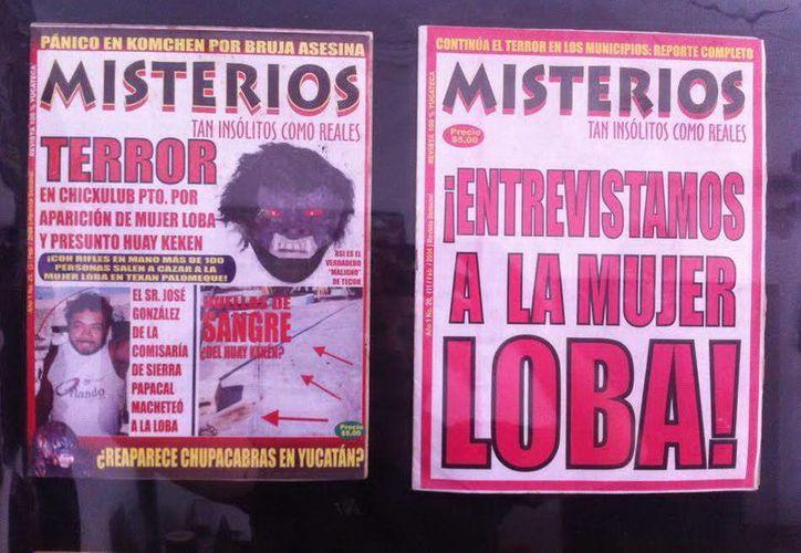 """Portadas de la revista Misterios con la cobertura que se le dio hace ya una década al caso de """"La Mujer Loba"""". (Jorge Moreno/SIPSE)"""