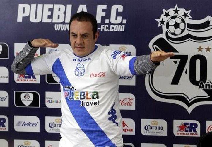 Cuauhtémoc Blanco en su presentación en el equipo de La Franja de Puebla. (mediotiempo.com)