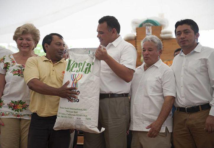Tras las afectaciones por granizo, los insumos y herramientas por ocho mdp, entregados por el Gobierno estatal, beneficiarán a trabajadores de 20 municipios. (Foto cortesía del Gobierno estatal)