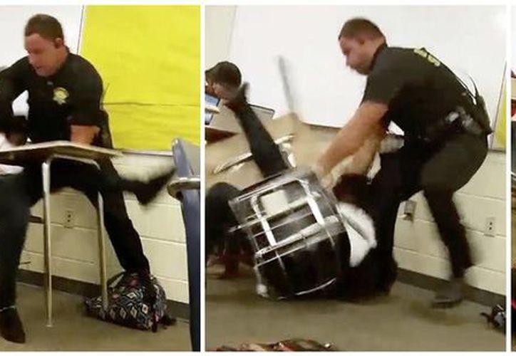Esta secuencia de imágenes, tomada de un video captado por un estudiante de la secundaria Spring Valley, el agente Ben Fields intenta retirar a la fuerza a una estudiante que se rehusó a salir de su clase de matemáticas en Columbia, Carolina del Sur. (AP)