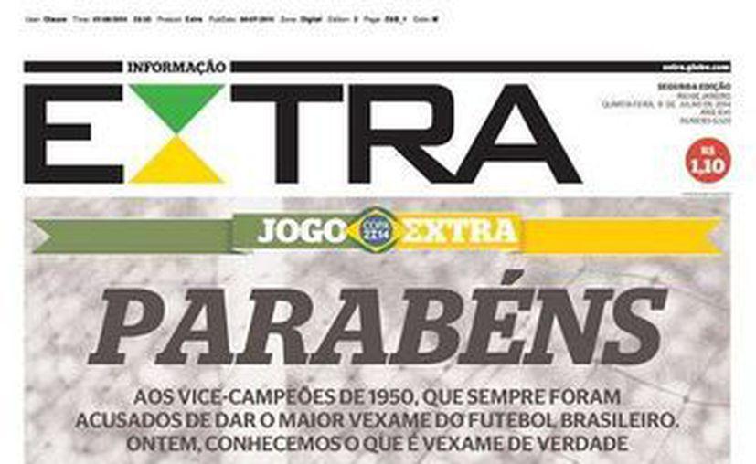 Los editores del diario Extra, de Brasil, eligieron una fotografía del llamado 'Maracanazo' para ilustrar la dramática derrota de la verdeamarela ante Alemania. (noticiasmontreal.com)