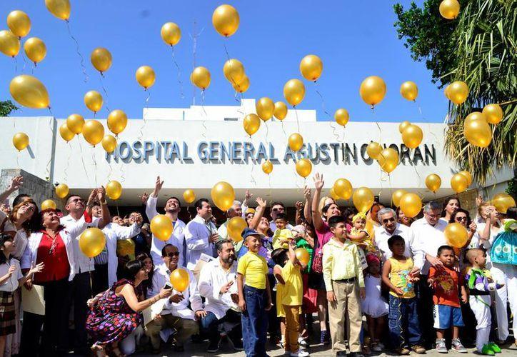 Este año la SSY realizará cirugías de médula ósea a niños con cáncer. En la foto, celebración del  del Día Internacional del Cáncer Infantil en el hospital Agustín O'Horán. (Daniel Sandoval/SIPSE)