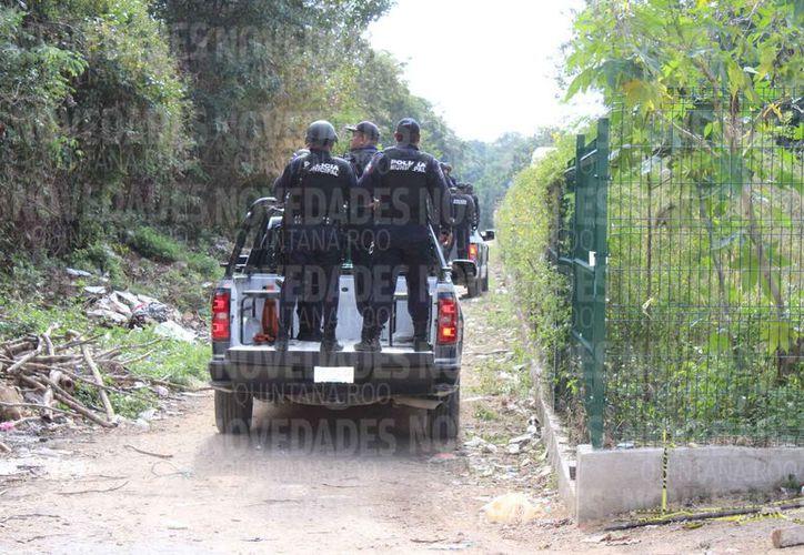 Elementos policiales, con equipo antimotines, llegaron a la zona invadida. (Adrián Barreto/SIPSE)