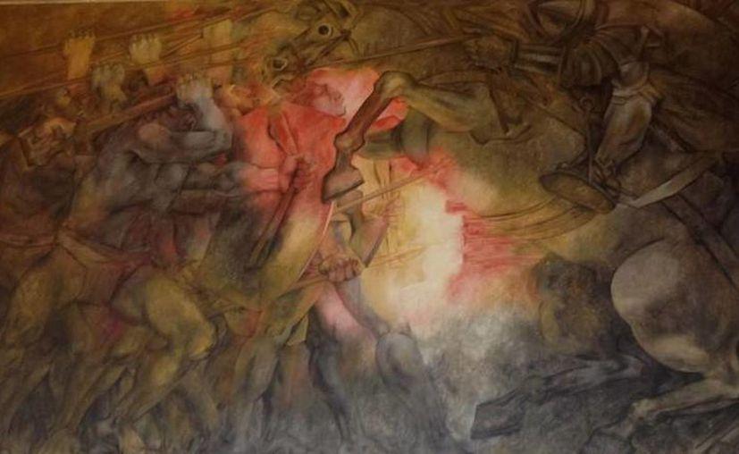 Uno de los murales que se exhiben en el Palacio de Gobierno, autoría de Fernando Castro Pacheco. (SIPSE)