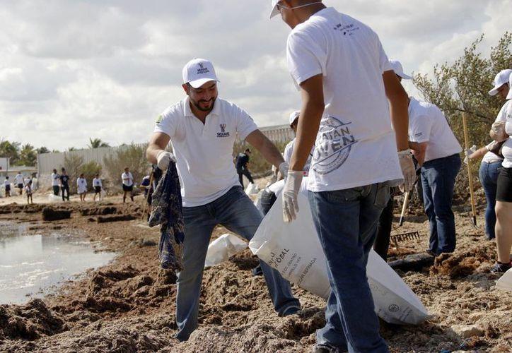 Elementos del Voluntariado de Sejuve promueven la limpieza de zonas costeras yucatecas. (Foto cortesía del Gobierno estatal)