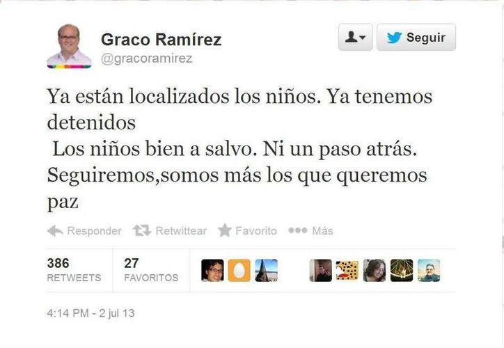 'Somos más los que queremos paz', escribió el mandatario. (Twitter.com/@gracoramírez)