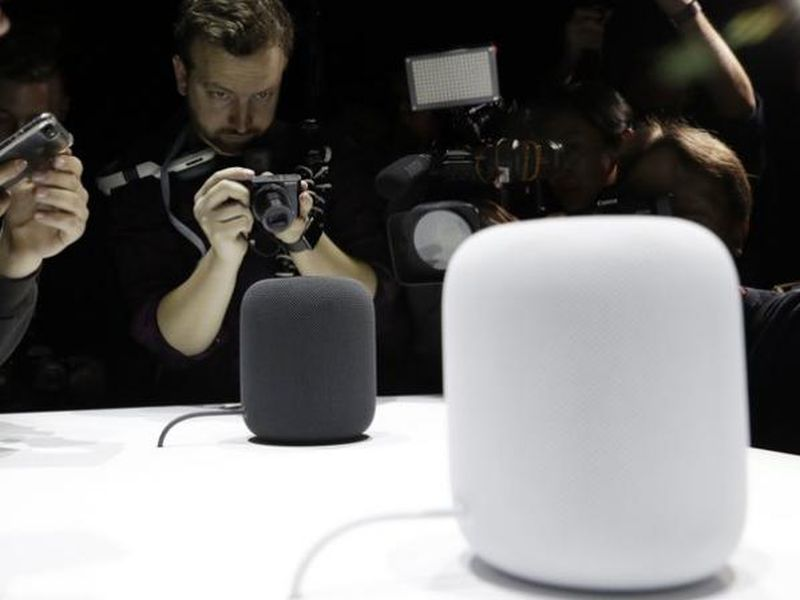 The HomePod speaker is photographed in a a showroom during an announcement of new products at the Apple Worldwide Developers Conference in San Jose, Calif.