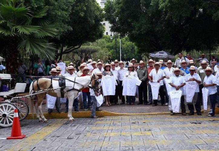 Caleseros con los apoyos que recibieron: guayaberas, sombreros y paraguas. (SIPSE)