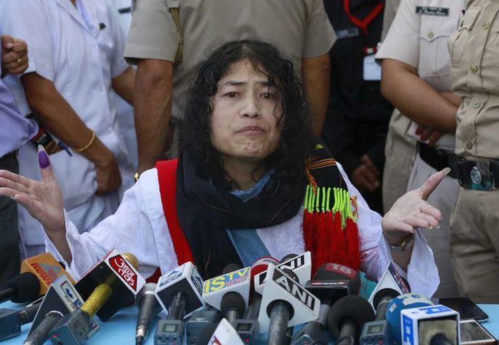 Irom Sharmila anunció su intención de competir por un cargo público tras salir de prisión. (AP/Anupam Nath)