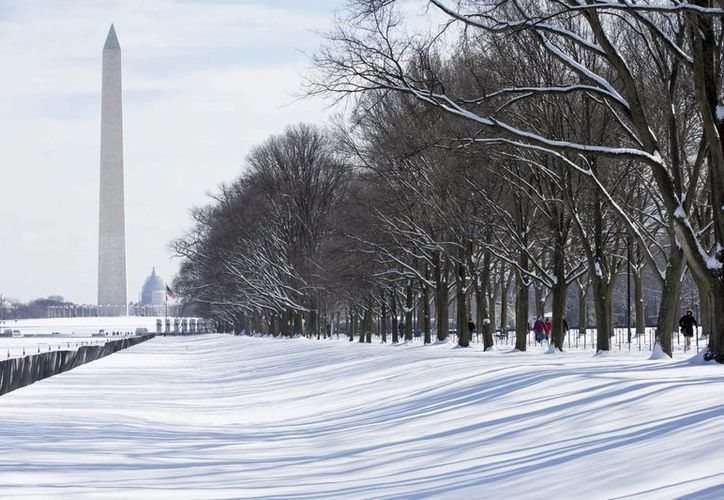 Vista de una hilera de árboles junto al estanque situado frente al monumento a Washington (i), durante un temporal de nieve en Washington, Estados Unidos. (EFE)