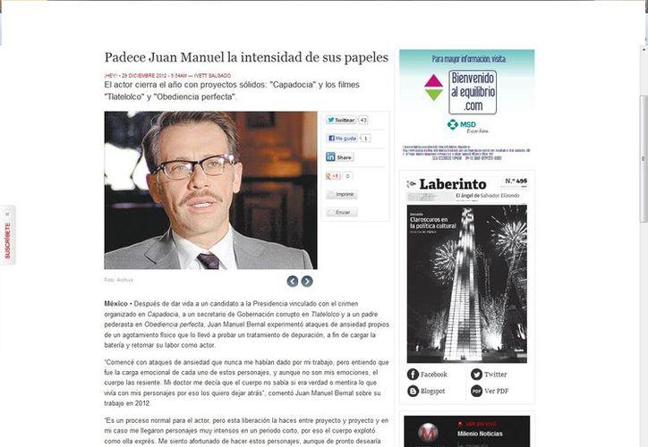 Mi doctor me decía que el cuerpo no sabía si era verdad o mentira lo que vivía con mis personajes: Juan Manuel Bernal. (Captura de pantalla de Milenio)