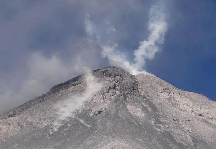 Una de las recientes exhalaciones del Volcán de Colima se elevó a 200 metros de altura y otra a 600. (Foto de archivo de Notimex)