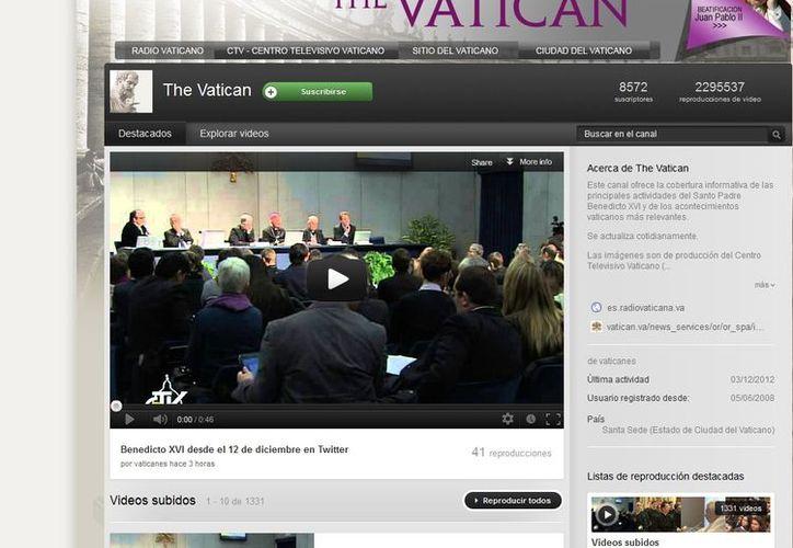 El Vaticano tabien tienen canal de Youtube que reúne videoclips de las actividades papales. (Yotube)