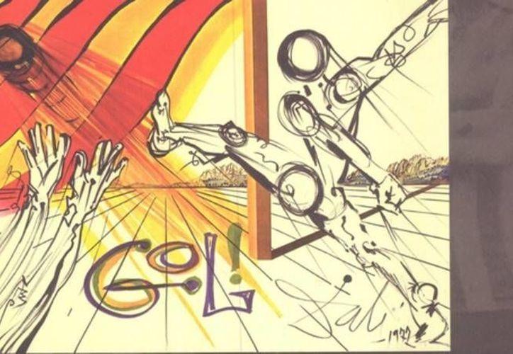 Salvador Dalí, uno de los más importantes pintores del siglo XX, llegó a jugar futbol y a crear lienzos relacionados con el deporte. (Gráfica tomada de aspuntesderabona.com)