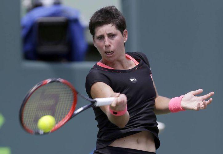 Carla Suárez Navarro irrumpió en el Top 10 gracias a su gran desempeño en el Abierto de Miami. (AP)