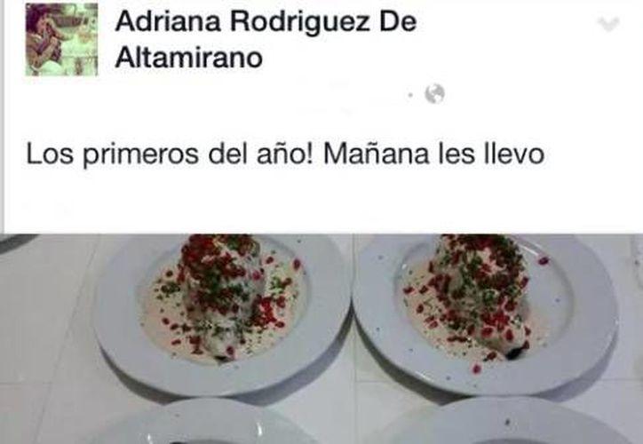 Adriana Rodíguez de Altamirado subió a su página de Facebook una foto de los chiles que había preparado. (Facebook/Adriana Rodíguez de Altamirado)