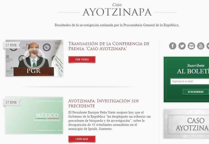 El primer video publicado en el micrositio es el mensaje de Peña Nieto donde se pronuncia sobre los hechos de Iguala. (Captura de pantalla/Presidencia)