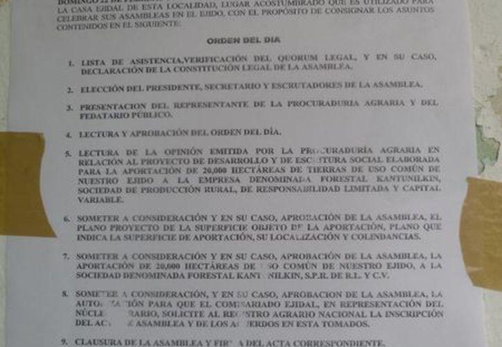 La convocatoria de la asamblea de ejidatarios. (Raúl Balam/SIPSE)