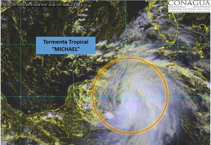 Imagen de satélite que muestra la fuerza de los vientos de Michael. (Conagua)