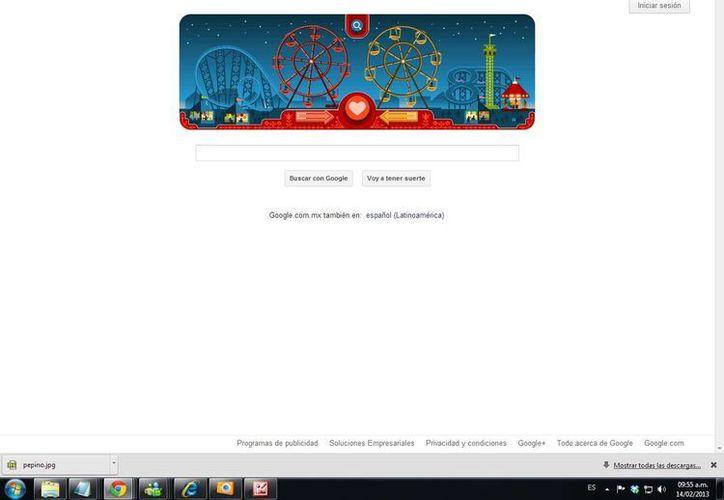 Así se puede disfrutar google en el día de San Valentín. (Sipse.com)