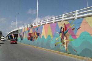 Así quedaron los murales del puente de Puerto Juárez
