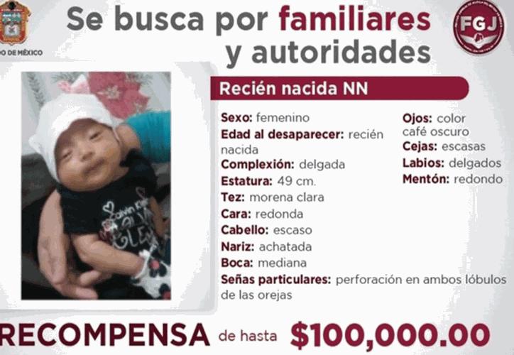 La Fiscalía General de Justicia del Estado de México había ofrecido una recompensa de 100 mil pesos a quien diera información de la menor.  (Televisa)