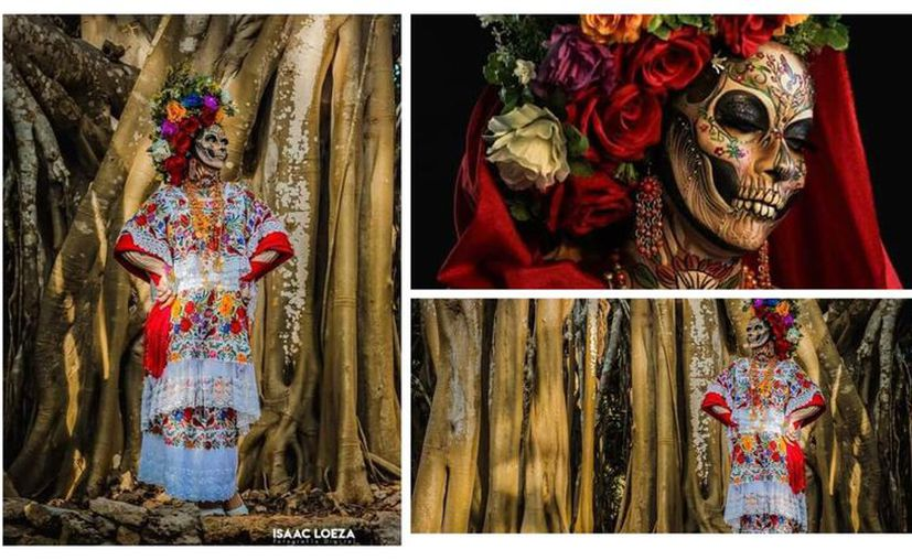 La artista representó una Catrina Regional con motivos típicos de Yucatán, resaltando las costumbres del Hanal Pixán y la leyenda de la Xtabay. (Fotos: Isaac Loeza)