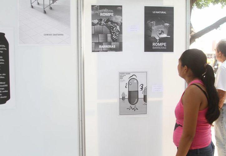 Greenpeace, que desde este miércoles llegó a Mérida, colocó en la Plaza Grande un cartel y varios murales alusivos a los alimentos que consumimos. (César González/SIPSE)