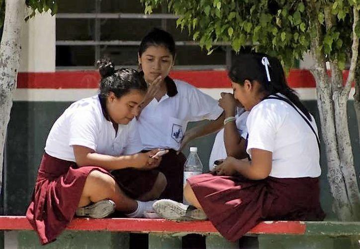 Los jóvenes pueden llevar sus celulares a la escuela pero serán decomisados si se usan dentro del salón de clases. (Carlos Horta/SIPSE)
