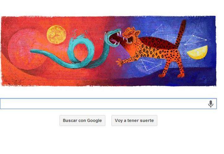El logotipo del famoso buscador intercala la obra de Tamayo denominada, Dualidad, con las letras de Google para recordar el natalicio del artista. (Captura de pantalla)