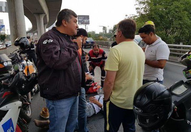 En redes sociales había corrido el rumor de que Miguel Herrera había atropellado al motociclista. (Foto: Higinio Robles León).