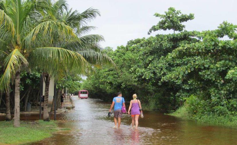 El camino hacia el sitio arqueológico sigue inundado. (Rossy López/SIPSE)