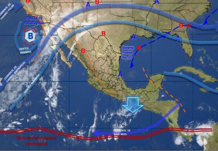 Canal de baja presión podría provocar lluvias en Quintana Roo y Yucatán. (SMN)
