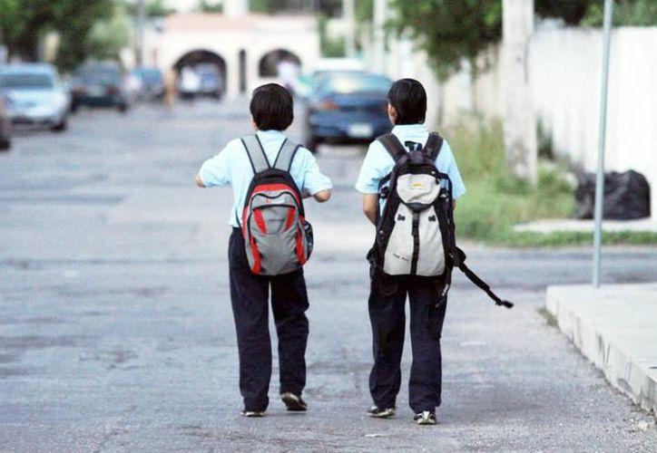Existen riesgos de salud para los niños y niñas que cargan mochilas que pesan por encima del 10 por ciento de su peso corporal. (Archivo/SIPSE)