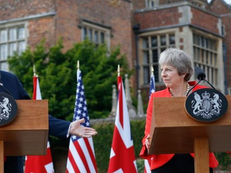 British Prime Minister Theresa May and U.S President Donald Trump hold a joint press conference at Chequers, in Buckinghamshire, England.
