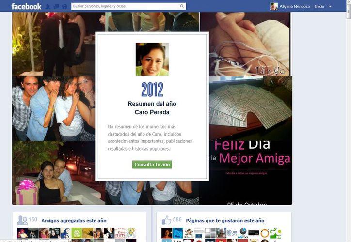 """""""Consulta el resumen de tu año 2012"""". (Facebook)"""