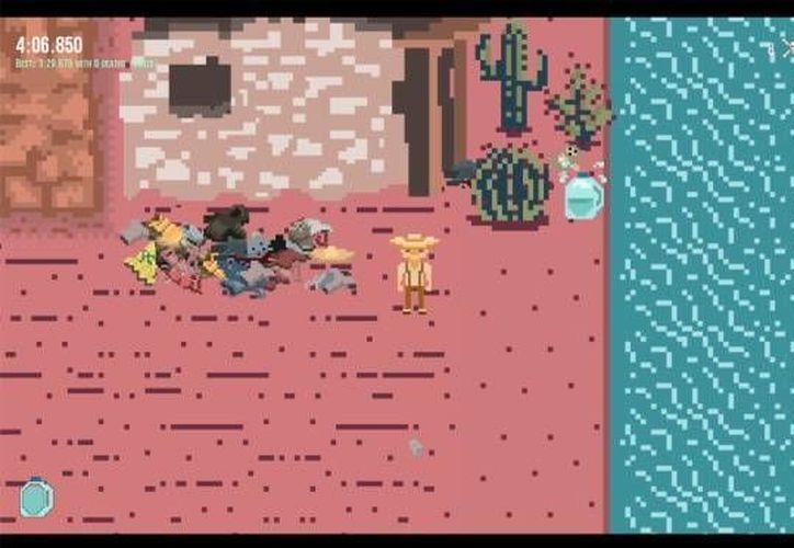 En 'Borders' el jugador tiene que mantenerse hidratado y esquivar a la patrulla fronteriza. (Captura de pantalla)