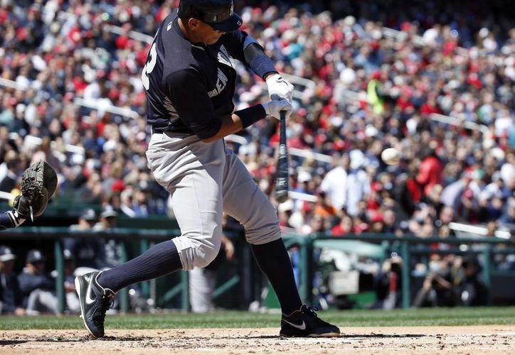 Alex Rodríguez durante un partido de exhibición. Tras un año de suspensión el beisbolista regresa con Yanquis para enfrentar a Azulejos en el primer partido de la temporada de la MLB.  (Foto: AP)