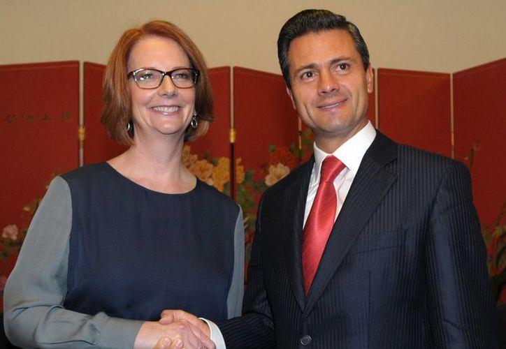El presidente Enrique Peña Nieto se reunió con la Primera Ministra de Australia, Julia Gillard. (Notimex)
