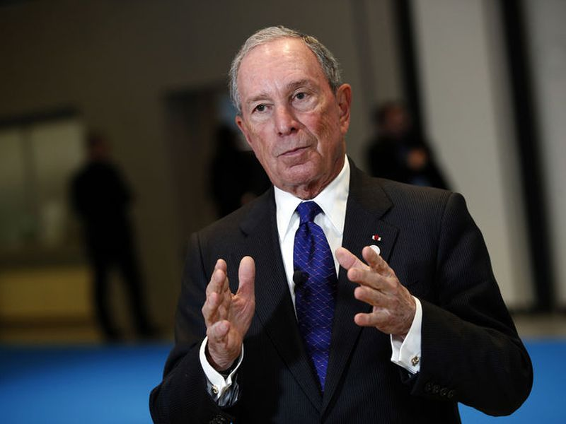 Special envoy to the United Nations for climate change Michael Bloomberg addresses the media at the One Planet Summit, in Boulogne-Billancourt, near Paris, France.
